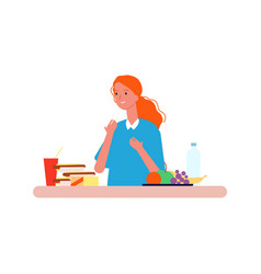 food choice woman choosing between healthy vector image