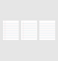 Four line english paper sheet notebook vector