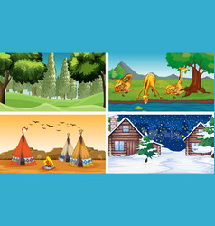 four scenes with animals and parks vector image