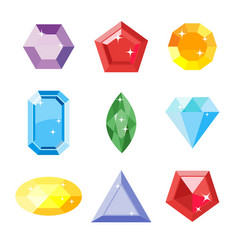 Gem set icon gem ruemerald sapphire vector