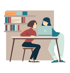 Girlfriends working on laptop in library and vector