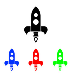 glyph rocket icon vector image