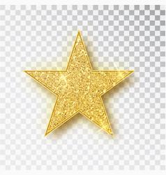 Gold glitter star isolated golden sparkle vector