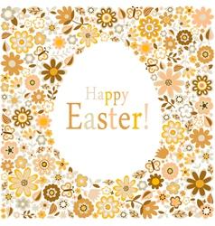 Golden egg floral pattern card vector