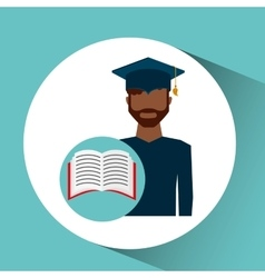 Graduate student man open book vector