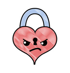 Grated angry heart padlock kawaii personage vector