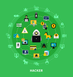 hacker round icons set vector image