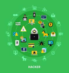 Hacker round icons set vector