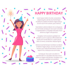 happy birthday woman celebrating special day vector image