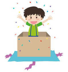 happy boy in birthday present box vector image