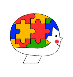 Happy child puzzle head cartoon isolated concept vector