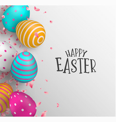 Happy easter card of color eggs and spring flower vector