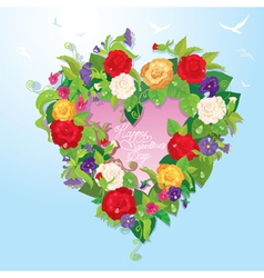 Heart shape is made of beautiful flowers - roses vector image