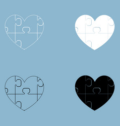 Heart with puzzle the black and white color icon vector