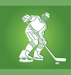 ice hockey player action cartoon sport graphic vector image