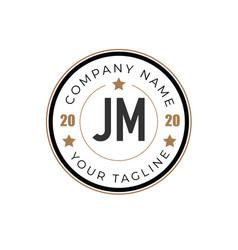 initial letter jm elegance logo design template vector image