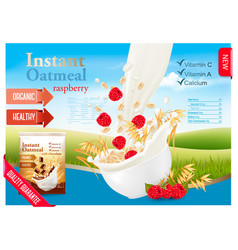 instant oatmeal with strawberry advert concept vector image