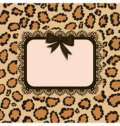 Invitation card with leopard fur texture vector
