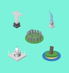 Isometric architecture set of chile rio new york vector