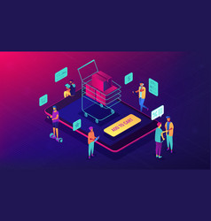 isometric mobile shopping and purchase vector image