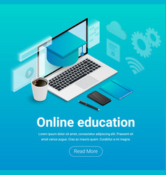 isometric online education banner text vector image