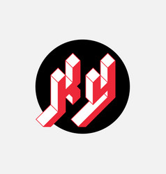 K and y - monogram or logotype isometric 3d font vector