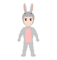 Kid with a rabbit costume halloween vector