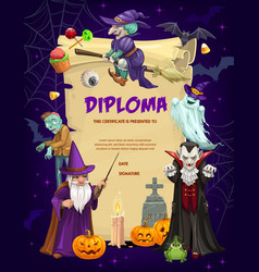 kids diploma with halloween characters vector image