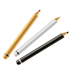 Makeup cosmetics eyeliner or brows mascara pencils vector