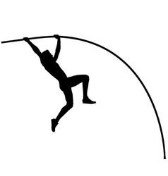Male athlete pole vaulter in pole vault vector
