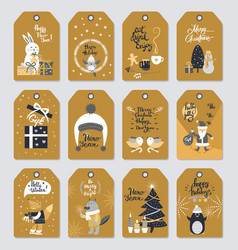 merry christmas label collection in vintage style vector image