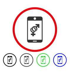 mobile dating rounded icon vector image