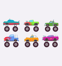 monster truck big wheels of scary car automobile vector image