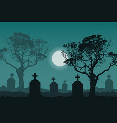Night at the cemetery vector