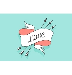 Old vintage ribbon banner with text Love in vector image
