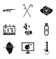 oppression icons set simple style vector image