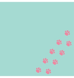 paw print track in corner blue and pink vector image