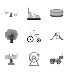Play garden set icons in monochrome style Big vector image