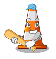 Playing baseball traffic cone on road cartoon vector