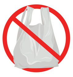 prohibition sign against plastic bags vector image
