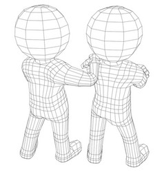 Puppet 3d men two friends vector