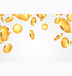 realistic 3d golden coins explosion vector image