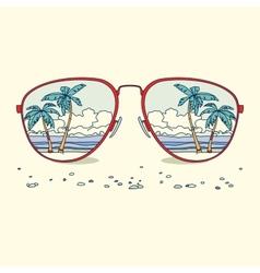 Reflection beach palm trees beach in vector