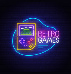 Retro games neon sign bright signboard vector