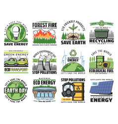 Save nature stop environment pollution eco icons vector
