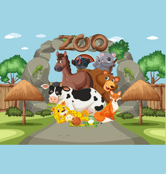 Scene with wild animals in zoo at day time vector
