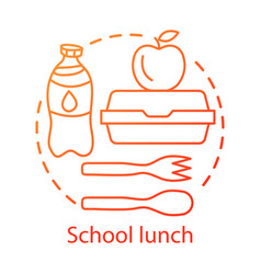 School canteen lunchtime concept icon catering vector