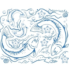 Seamless background of marine life vector