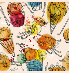 seamless pattern with watercolor ice cream and vector image