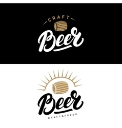 set beer hand written lettering logos labels vector image